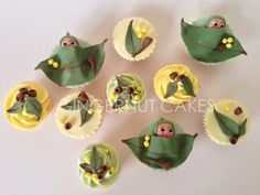Gumnut Babies These cupcakes were designed from a children's book series in Australia 'The Tales of Snugglepot and Cuddlepie'. Baby Cupcake, Baby Shower Cupcakes, Baby Party, Baby Shower Parties, Baby Shower Themes, Baby Shower Decorations, Wiggles Birthday, Baby First Birthday, First Birthday Parties