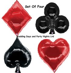 """Set 4 Giant 35"""" Playing Cards Casino Poker Party Foil Helium Balloon Decorations"""