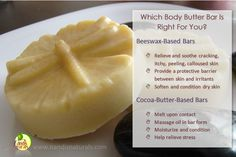Every wondered what the difference is between our beeswax-based body butter bars and the cocoa-butter-based bars? This handy chart should help! Also, check out our Deals page, where we have a few listed at a great discount!  Shop Body Butter Bars: http://www.nandisnaturals.com/body-butter-bars.html Shop Deals: http://www.nandisnaturals.com/deals.html