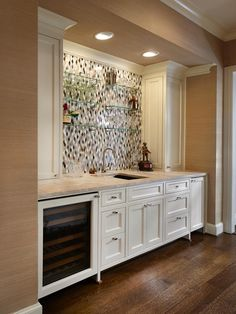 This Neutral Traditional Kitchen Bar Features A Stainless Steel Sink Built In Dining Room