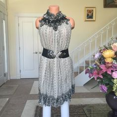 """Avenue 8th dress Purchased at a boutique in Miami. Belt not included. Can be worn as tunic but looks better belted. Pullover/button in back of collar. Neckline is silk with Crystal embellishment. Waist/belly button down length 19'-20' depending on the belt and how much you want to scrunch up the dress. Fully thinned lined. No Trades/PayPal. Reasonable negotiations using the """"offer"""" button.🎀 Boutique Dresses"""