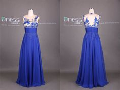Royal Blue Round Neck Lace Appliques Open Back Long Prom Dress/Long Evening Gown/Sexy See through Long Prom Dress/Lace Prom Dress DH328 by DressHome on Etsy https://www.etsy.com/listing/204636500/royal-blue-round-neck-lace-appliques