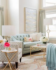Blue, gray and gold living room colors - mismatched living room furniture Paint Colors For Living Room, Living Room Grey, Home Living Room, Living Room Designs, Paintings For Living Room, Blue And Gold Living Room, Pastel Living Room, Gold Living Rooms, Furniture For Living Room