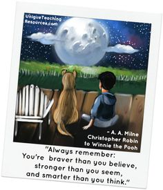 """A.A. Milne  - """"Always remember: You're braver than you believe, and stronger than you seem, and smarter than you think."""" -  Christopher Robin to Pooh"""