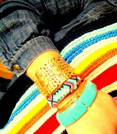 Handwoven Friendship Bracelet Aztec . Turquoise / Green by sobohemians on Etsy