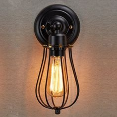 $35 for half bath hallway Ecopower Vintage Style Industrial Black Mini Wire Cage Wall Sconce Ecopower Lighting