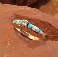 8-section Turquoise Opal inlay Diamond Solitaire Engagement Ring - made to order