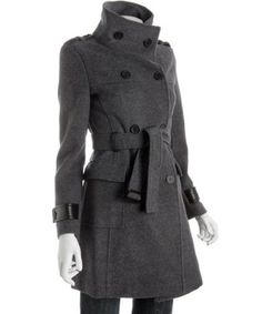 Marc New York grey wool-cashmere double breasted belted coat