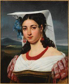 "Court, Century painting ""Roman woman"" on LiveAuctioneers Joseph, Coral Art, Italian Women, Classical Art, Hat Hairstyles, Painting Inspiration, Art History, Roman, Art Gallery"