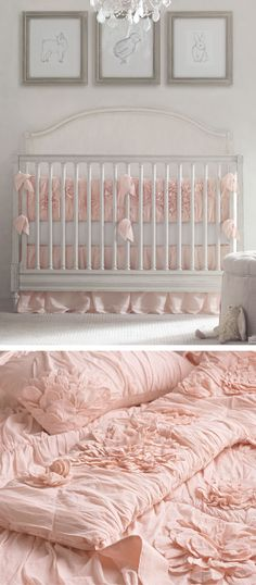 textural layers.  lend the nursery femininity and an irresistibly light and airy texture by choosing bedding embellished with quilting, ruching, appliqués and embroidery.