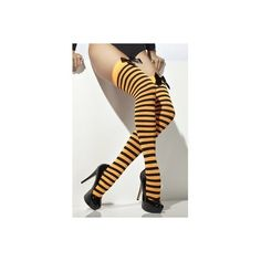 Striped Stockings, orange and black, adult ladies halloween hold ups (20 BRL) ❤ liked on Polyvore featuring tights and socks