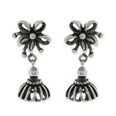 Dangle Earrings Jhumki Handmade Jewelry Sterling Silver Indian ShalinIndia,http://www.amazon.com/dp/B00F4V0ZDM/ref=cm_sw_r_pi_dp_oZGysb0XW9TM90Q4