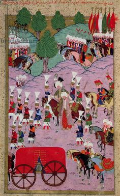 TSM H.1524 'Hunername': The Army of Suleyman the Magnificent (1494-1566) Leave for Europe, from the 'Book of Excellence' by Lokman, 1588 (gouache on paper)