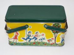 "Children Playing Tin Metal Empty Container Lunch Box 8"" x 4.5"" x 4.5"" Vintage"