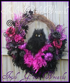 "Large Black Feather Owl Large Purple and Black Halloween Wreath, 13"" Owl, 34"" Wreath, Feather Boas, Glitter Pumpkins, Roses, Peonies, XL by IrishGirlsWreaths on Etsy"