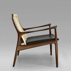 Ib Kofod Larsen Caned Lounge Chair by Ib Kofod Larsen for Selig of Denmark c 1955