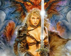 Dream Of The Dragon 1 - Luis Royo - Visions Fantasy Girl, Chica Fantasy, Fantasy Warrior, Dark Fantasy, Dragons, Dark Paintings, Luis Royo, Sword And Sorcery, Spanish Artists