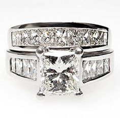 Estate 1.5 Carat Princess Cut Diamond Engagement Ring Bridal Set Solid Platinum