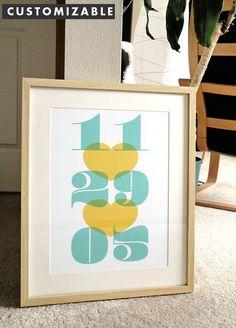 Modern Date  a modern design print 13x19 by finkastudio on Etsy, $20.00