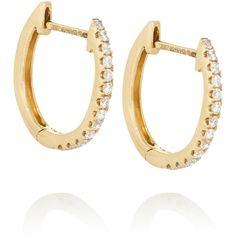 Anita Ko Huggy 18-karat gold diamond earrings (€1.495) ❤ liked on Polyvore featuring jewelry, earrings, gold, pave diamond jewelry, diamond earrings, hinged earrings, 18 karat gold jewelry and diamond jewellery