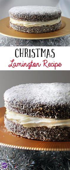 The lamington, a popular Australian dessert, gets a Christmas makeover! Xmas Food, Christmas Desserts, Christmas Baking, Christmas Recipes, Australian Desserts, Australian Food, Australian Recipes, Australian Lamington Recipe, Pavlova