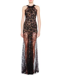 Lace Evening Gown with Sheer Skirt by Emilio Pucci at Neiman Marcus.