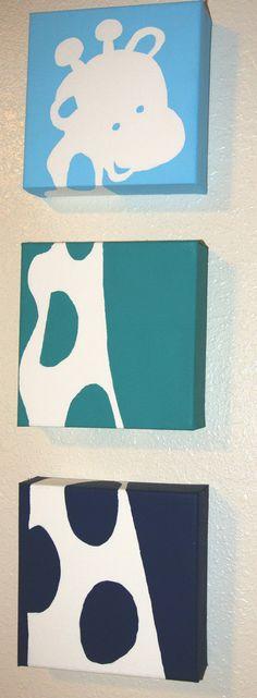 "Animal Nursery Canvas-- three 6"" x  6"" canvas"