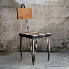 """Set of 4 chairs """"Warrior"""", the structure is composed of tapered tubes of iron, wastes of iron bars, polished and curved. #madeinitaly #artigianato #design"""