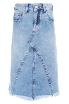 FYI - Saia Jeans Barra Desfiada - Azul - OQVestir