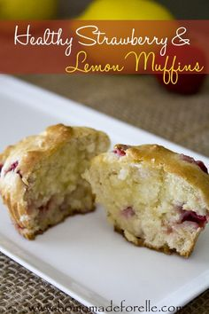 Healthy Strawberry and Lemon Muffins | homemadeforelle.com