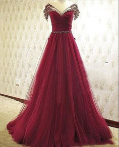 Wine Red Sweetheart Tulle Long Prom Dress
