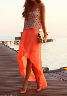 Wedding guest attire - maybe for a beach wedding? obsessed with everything about this bright skirt and gold accents...I'm sensing a trend.