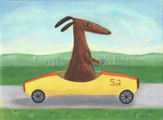Dog Art Print    Billy loves the feel of the wind in his fur while he drives his boxcar!    This listing is for a print of my original acrylic