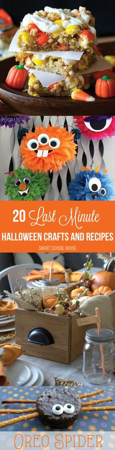 20 Amazing Halloween crafts and recipes. Tons of fun kids activities and Halloween food. The oreo spiders are my favorite. I think I might make those for the kids school Halloween party! Spooky Halloween Crafts, Halloween Goodies, Halloween Projects, Holidays Halloween, Halloween Treats, Happy Halloween, Halloween Decorations, Halloween Party, Halloween Carnival