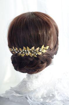 gold leaf hair piece, grecian headpiece, victorian greek goddess hair accessory