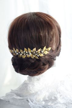 gold leaf hair piece, grecian headpiece, victorian greek goddess hair accessory