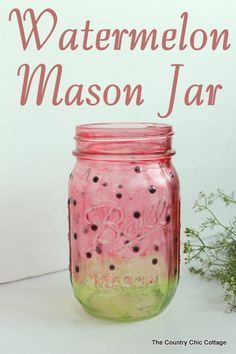 Watermelon Mason Jar -- learn how to paint a great watermelon mason jar craft for summer. Perfect for decorating your home or for parties. The jar turns out see through so you can add candles easily. #GreatBusinessCardMakers