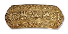 Peranakan belt buckle with phoenixes. South Sumatra. Gold, silver mounting || Ethnic Jewellery from Indonesia: Continuity and Evolution By Bruce W. Carpenter, page 119