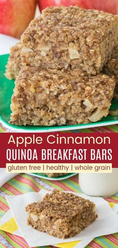 Healthy Apple Cinnamon Breakfast Bars filled with apples oatmeal and quinoa for a protein-packed Healthy Apple Cinnamon Breakfast Bars filled with apples oatmeal and quinoa for a protein-packed Cupcakes 038 Kale Chips cupcakekalechip nbsp hellip Quinoa Breakfast Bars, Quinoa Bars, Healthy Make Ahead Breakfast, Quinoa Protein, Breakfast Cupcakes, Breakfast Ideas, Healthy Breakfasts, Quinoa Cupcakes, Quinoa Desserts