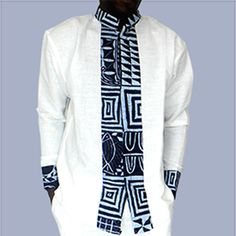 beautiful African print fabric and linen shirt, linen white color and fabric printed with pattern bamileke, meticulous .travail Mandarin collar and hidden closure for an amazing result Cameroon original. African Inspired Fashion, African Print Fashion, Africa Fashion, African Attire, African Wear, African Dress, African Traditional Wedding Dress, Moda Afro, African Shirts For Men