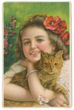 Vintage Handmade Calico Kitty Cat Pillow Cushion Lot Cute Decor for Pet Bed Victorian Pictures, Vintage Pictures, Vintage Images, Vintage Prints, Vintage Art, Victorian Illustration, Photo Souvenir, Vintage Postcards, Vintage Children