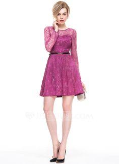 [US$ 87.99] A-Line/Princess Scoop Neck Short/Mini Lace Cocktail Dress (016083905)