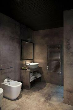 Szara łazienka, łazienka pełna melancholii ale również... elegancka łazienka! Nie bój się betonu architektonicznego we wnętrzu - mimo, iż surowy beton nadal odstrasza swoją prostą, to minimalistyczne rozwiązanie znajduje coraz większe grono zwolenników - zainspiruj się i Ty! Zapraszam do posta o KOLORACH JESIENI WE WNĘTRZU - tylko u Pani Dyrektor ;]