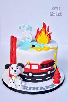 Firefighter Birthday Cakes, Truck Birthday Cakes, 4th Birthday, Fire Truck Cakes, Fire Cake, Fire Engine Cake, Fire Fighter Cake, Baby Reveal Cakes, Party Decoration