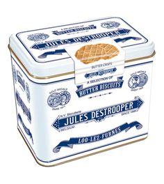 Jules Destrooper Belgian Butter Waffles in Decorative Tin Vintage Dog, Vintage Tins, Chocolates, Packaging Design, Branding Design, Miss My Dog, Biscuits Packaging, Dog Biscuits, New Flavour