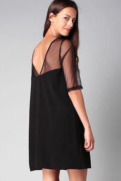 Robe noire détail plumetis Apple Clo&Se by MonShowroom en promotion sur MonShowroom.com