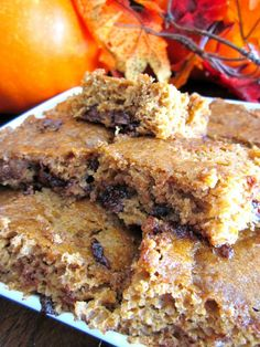 """Pumpkin Chocolate Chip Brownies              Now that it is September, fall is officially around the corner!  I love everything about the fall, especially all things """"pumpkin.""""  In honor of the upcoming season, we whipped up some of these Pumpkin Chocolate Chip Brownies and boy were they good!"""