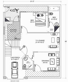 A Plan For Plot Size 31'-33'' * 40' sqr feet