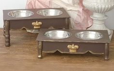 Brown Shabby Chic Raised Dog Bowls Feeder