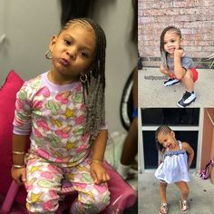 Image may contain: 3 people Lil Girl Hairstyles, Black Kids Hairstyles, Girls Natural Hairstyles, Kids Braided Hairstyles, Children Hairstyles, Toddler Hairstyles, Toddler Braids, Braids For Kids, Girls Braids